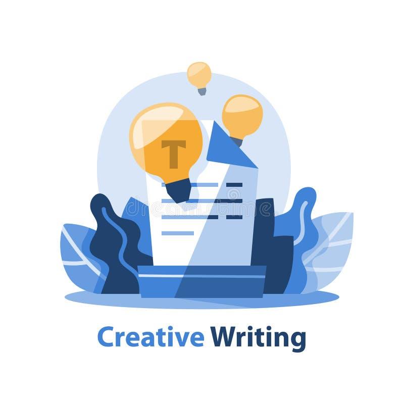 Historieberättande och idérikt skrivande begrepp, textdokument och ljus kula royaltyfri illustrationer