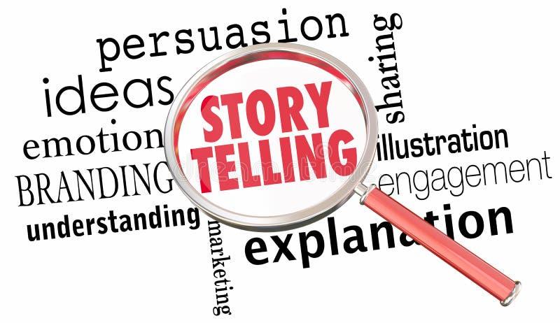 Historieberättande som dåligt delar idékommunikationsförstoringsglaset 3d vektor illustrationer