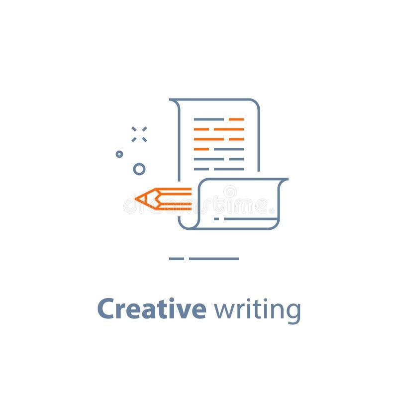 Historieberättandebegrepp, idérik handstil, blyertspenna och papper och att copywriting, linjär symbol stock illustrationer