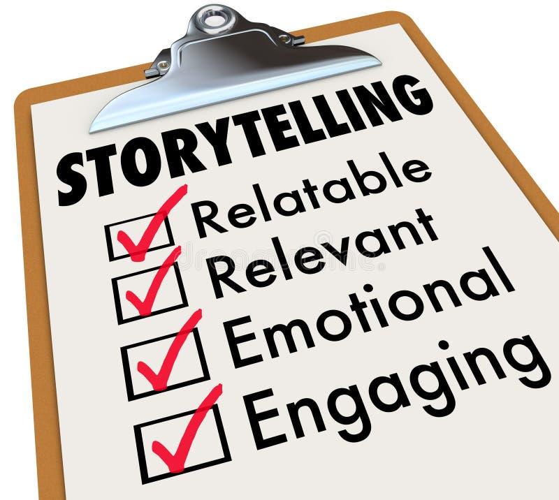 Historieberättandekontrollistaskrivplatta hur man berättar berättelser 3d Illustra royaltyfri illustrationer