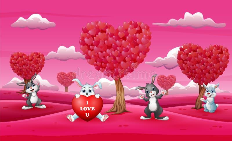 Historieta al grupo de conejo en el campo rosado hermoso ilustración del vector