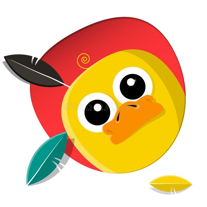 Historieta amarilla enrrollada del pollo con las plumas libre illustration