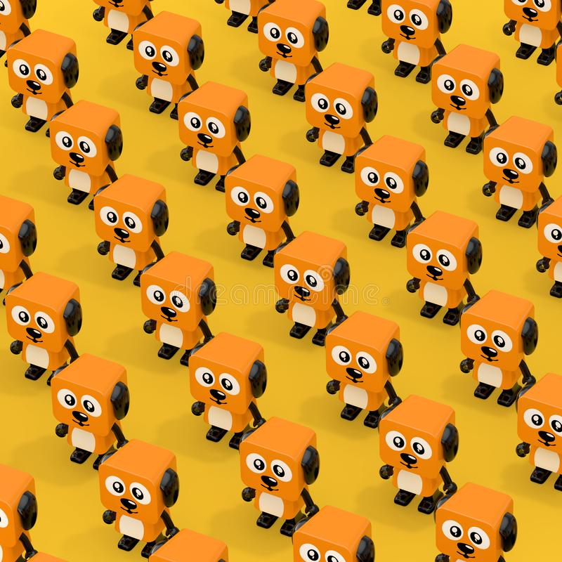 Historieta anaranjada linda Toy Dog Character Persons de las filas representación 3d stock de ilustración