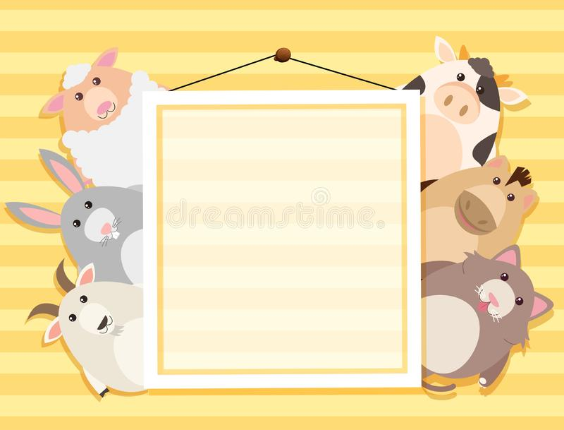 Historieta animal en marco ilustración del vector