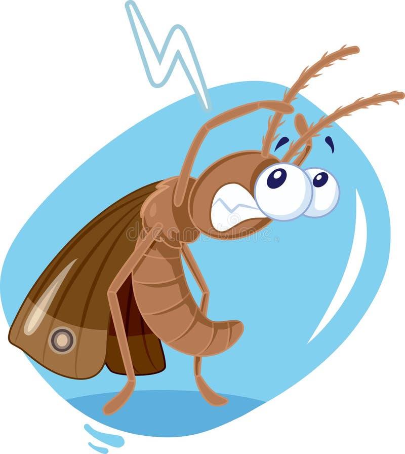 Historieta asustada del vector de insecto de la polilla ilustración del vector