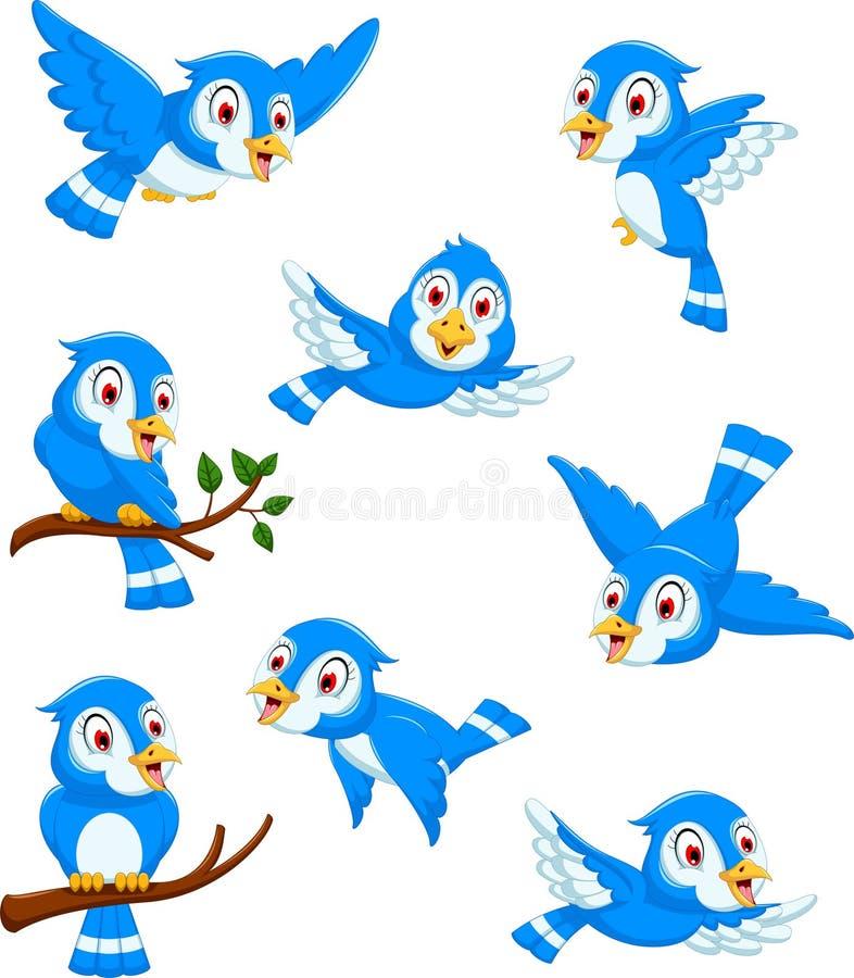 Historieta azul del pájaro que plantea la colección ilustración del vector