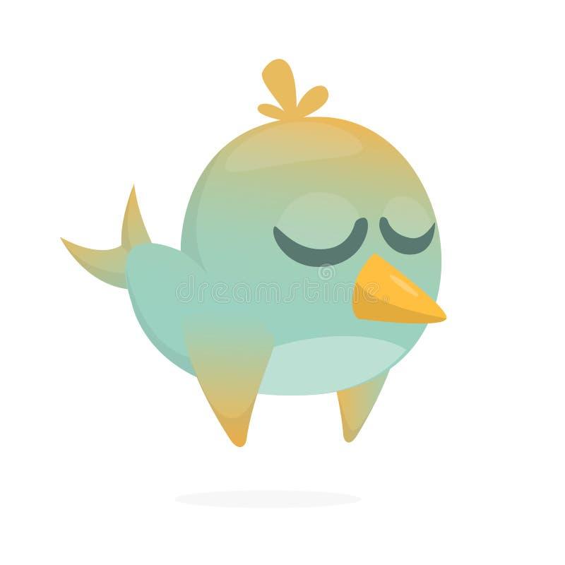 historieta azul divertida del pájaro Vector el ejemplo del pájaro azul del bosque aislado en blanco Icono del pájaro stock de ilustración