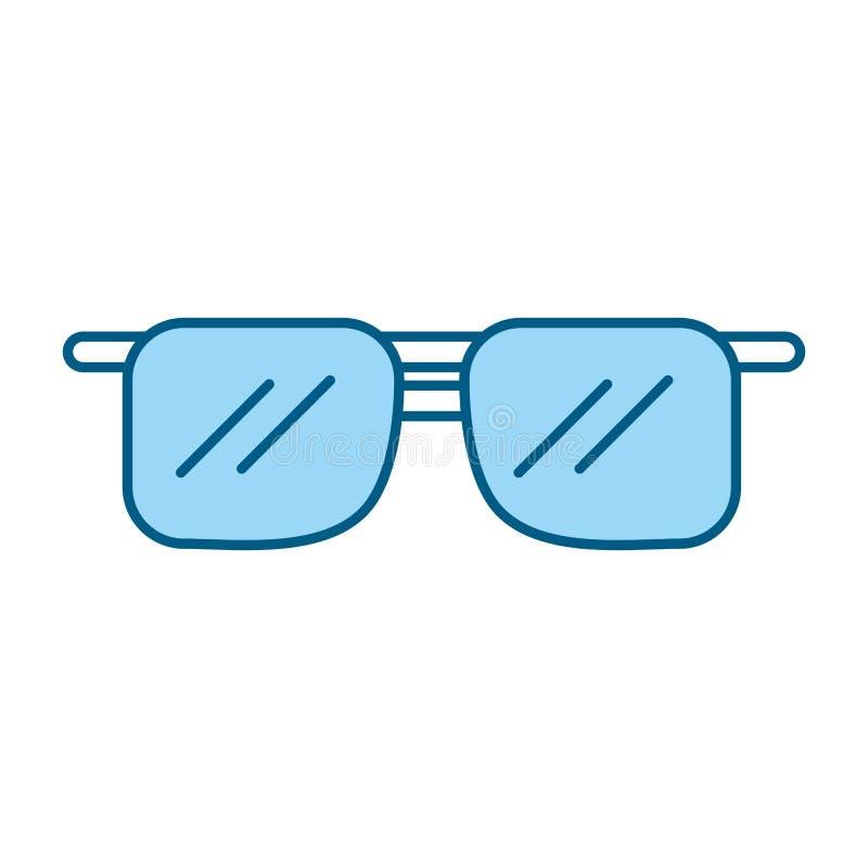 Historieta azul linda de las gafas de sol stock de ilustración