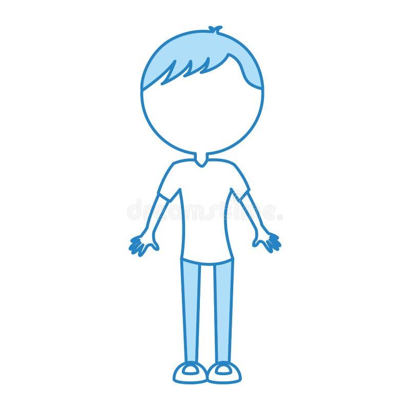 Historieta azul linda del hombre del cuerpo stock de ilustración