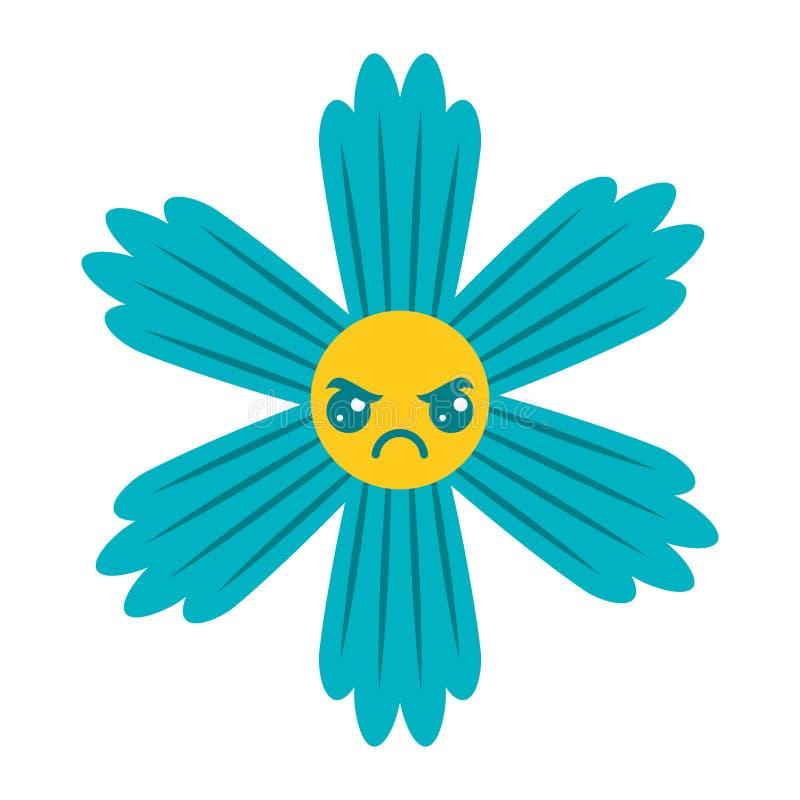 Historieta azul linda del kawaii de la flor ilustración del vector