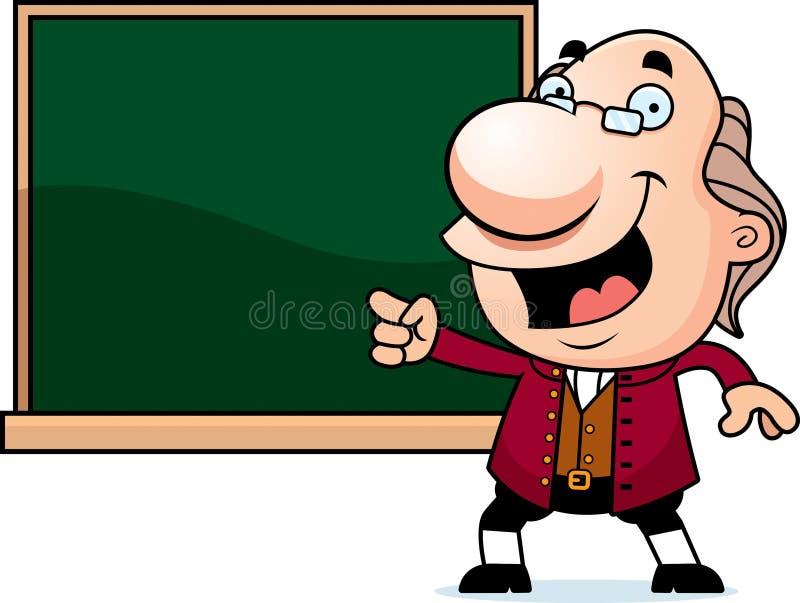 Historieta Ben Franklin Chalkboard ilustración del vector