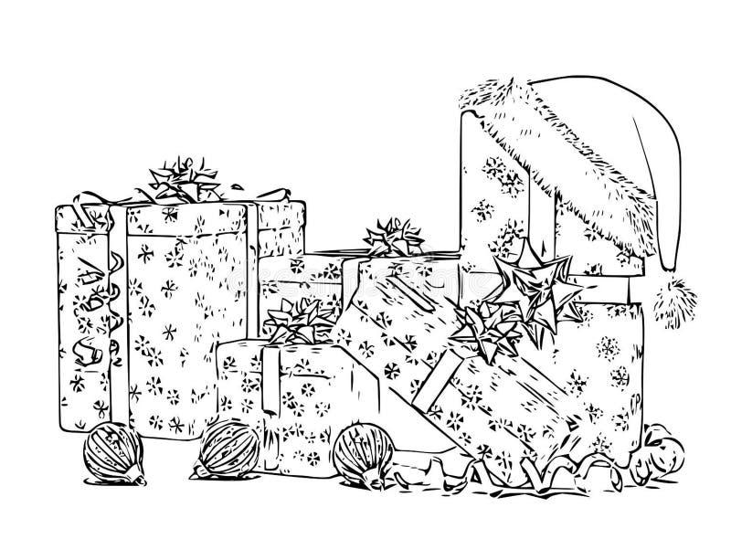 Historieta blanca del bosquejo del negro del libro de colorear de la caja de regalos de la Navidad libre illustration