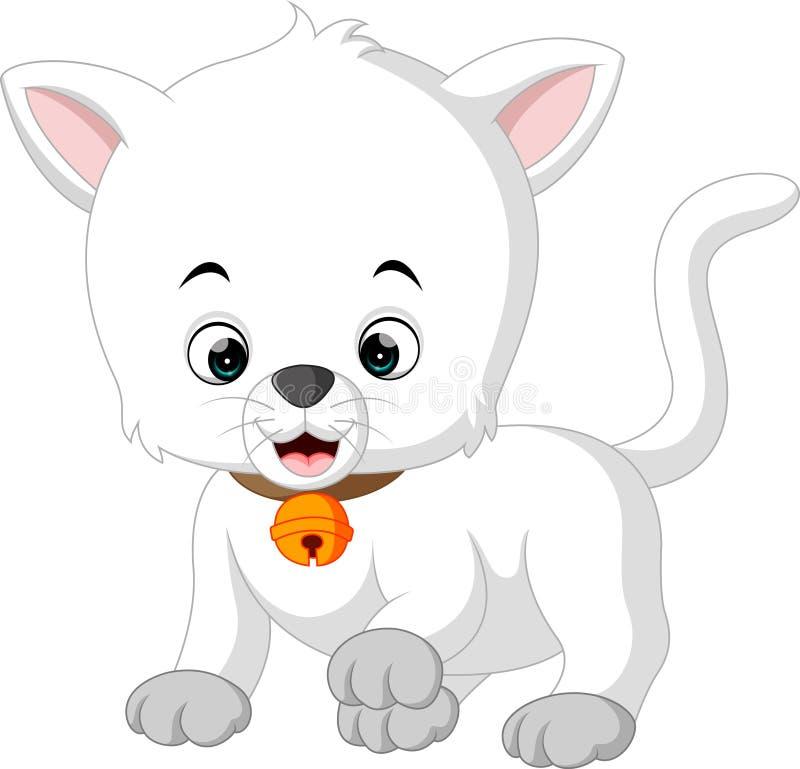 Historieta blanca del gato stock de ilustración
