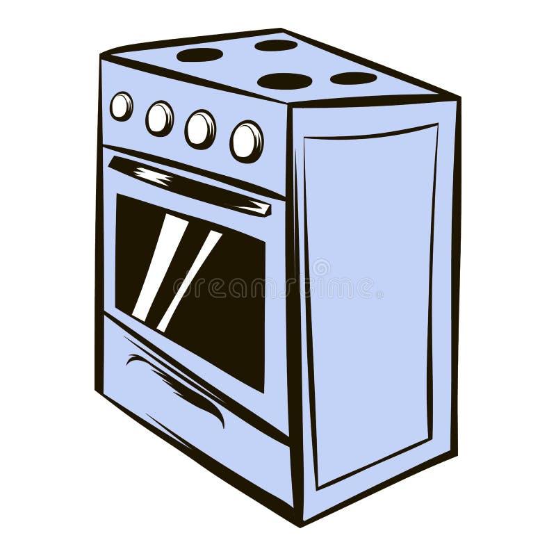 Historieta blanca del icono del horno ilustración del vector