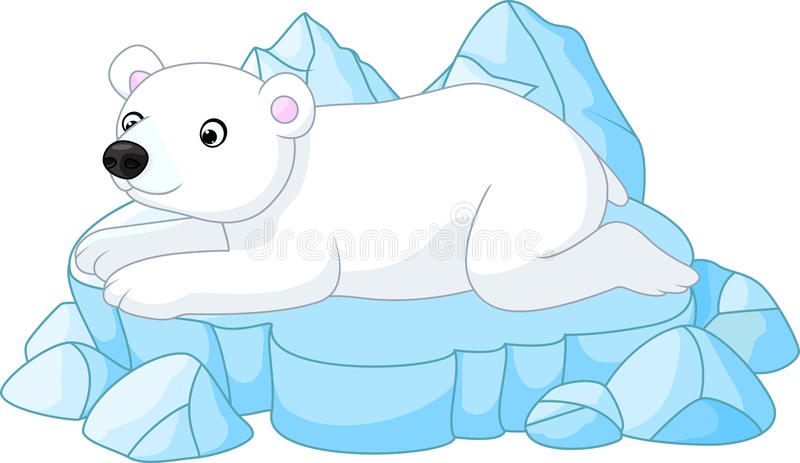 Historieta blanca del oso polar stock de ilustración