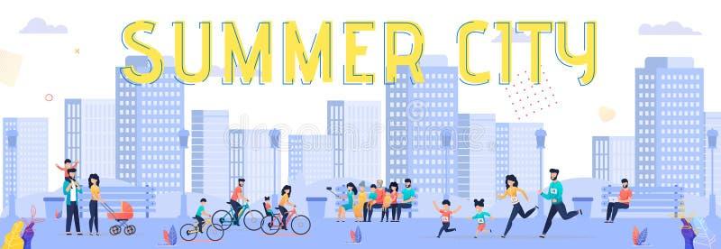 Historieta brillante de la ciudad del verano de la inscripción de la bandera libre illustration