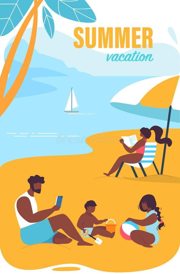Historieta brillante de las vacaciones de verano de la inscripción del cartel stock de ilustración