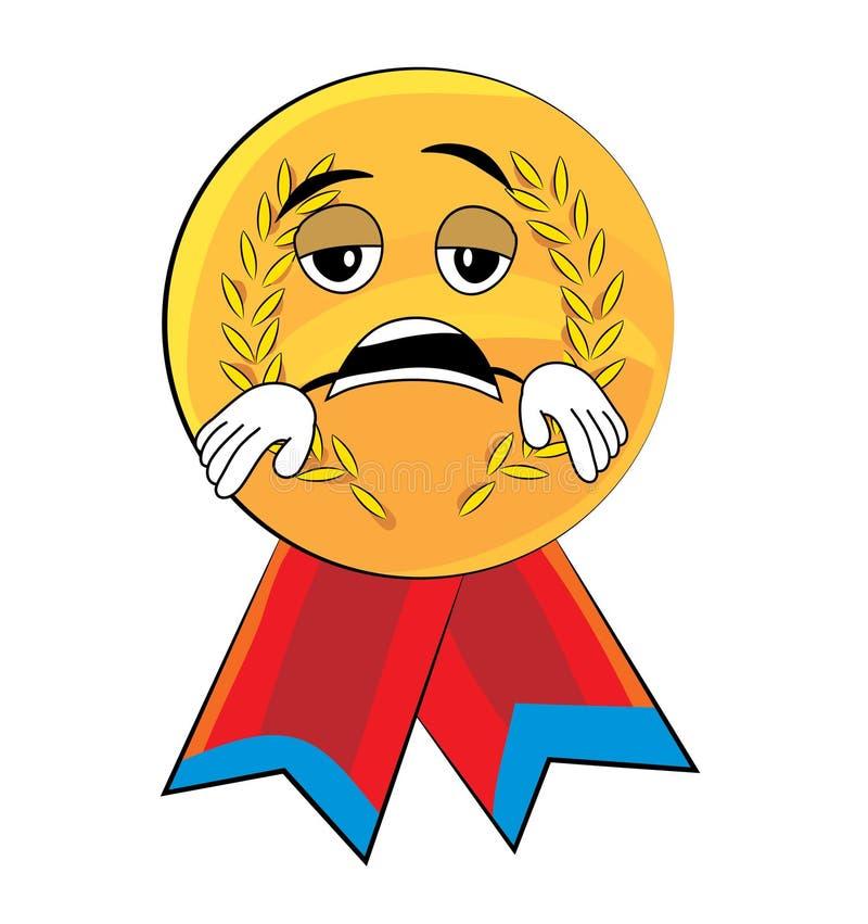 Historieta cansada de la medalla stock de ilustración