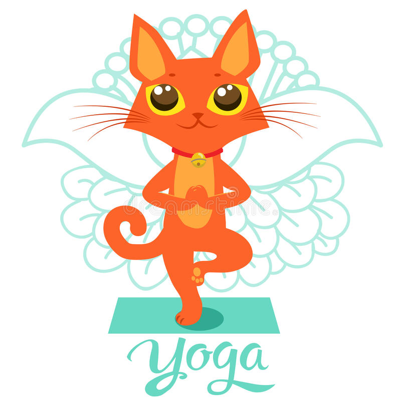 Historieta Cat Icons Doing Yoga Position divertida Actitud del gato de la yoga libre illustration