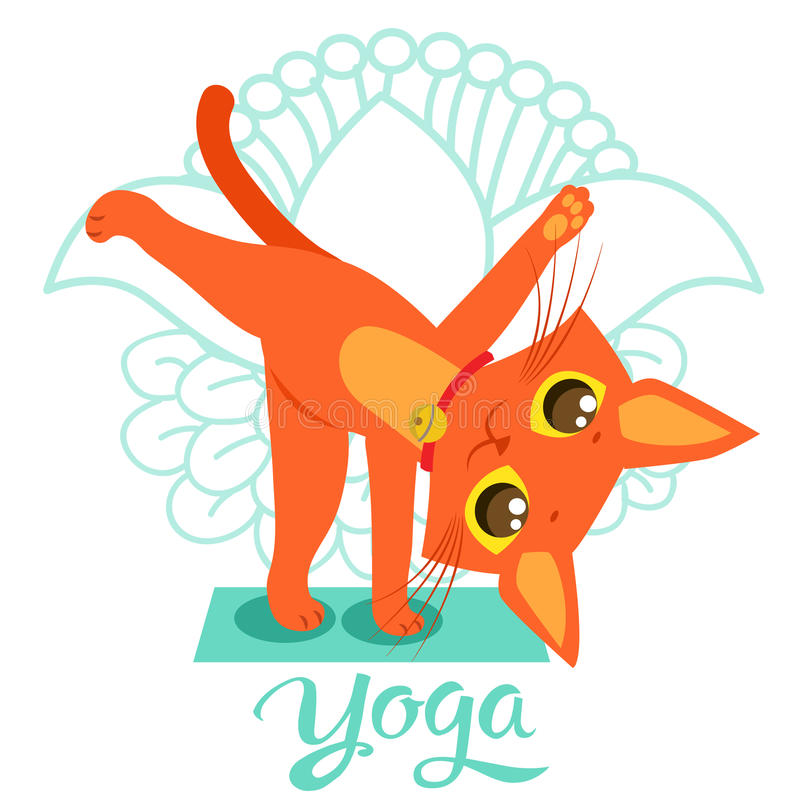 Historieta Cat Icons Doing Yoga Position divertida Actitud del gato de la yoga Yoga Cat Vector Yoga Cat Meme ilustración del vector