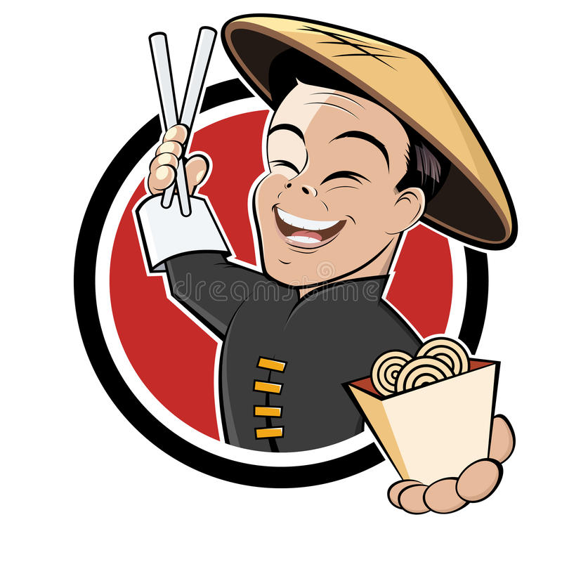 Historieta china divertida del alimento stock de ilustración