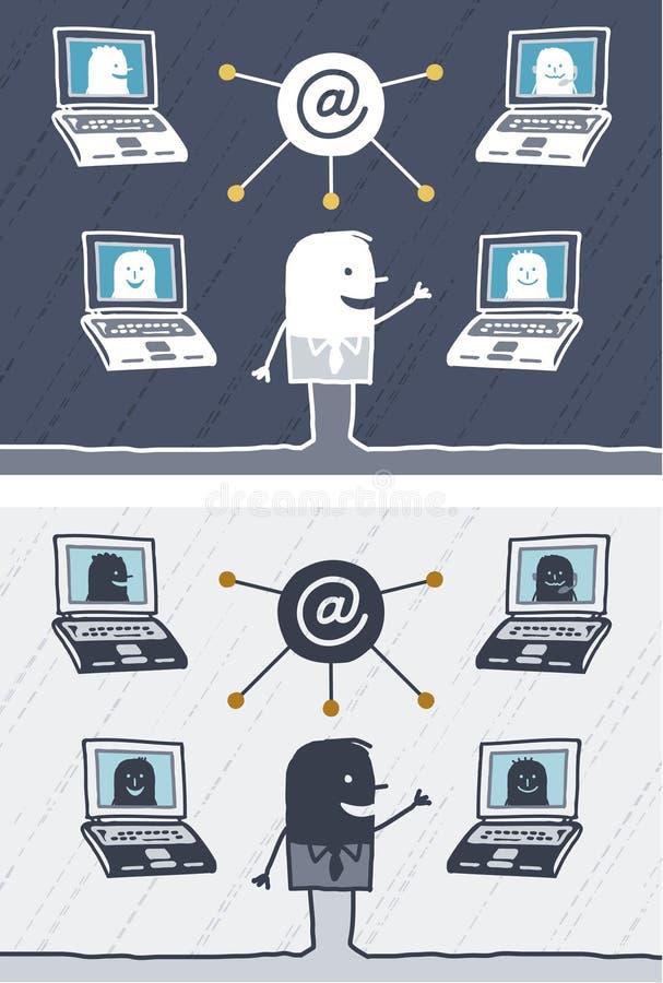 Historieta coloreada reunión neta libre illustration