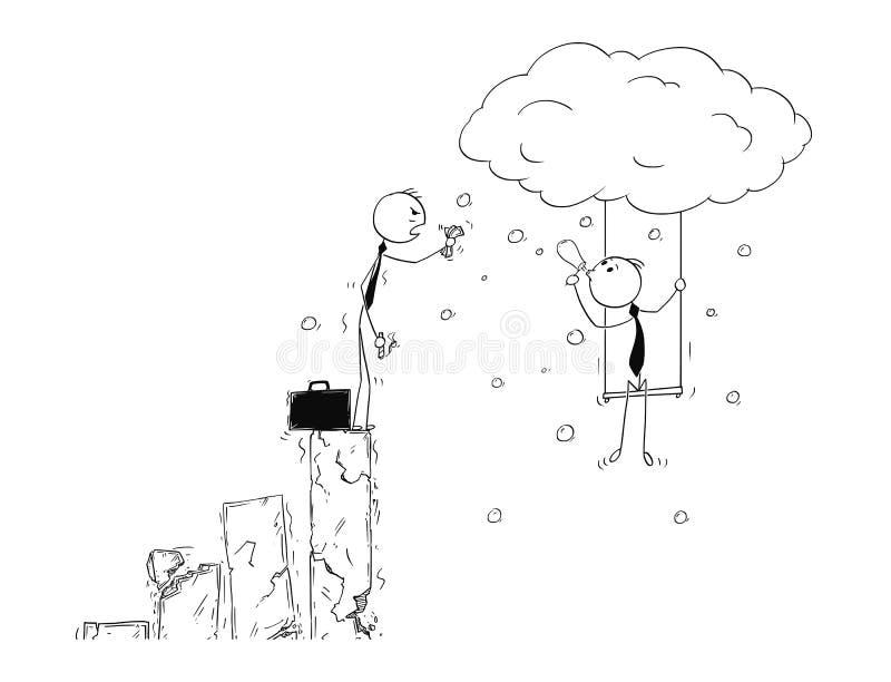 Historieta conceptual de la ventaja de la creatividad en crisis del negocio libre illustration