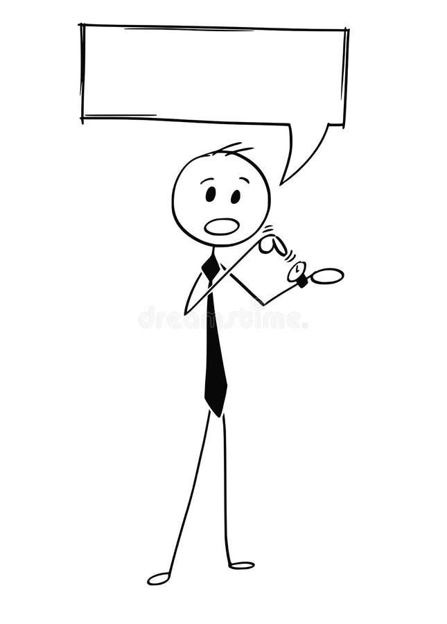 Historieta conceptual del hombre de negocios Pointing en el reloj libre illustration