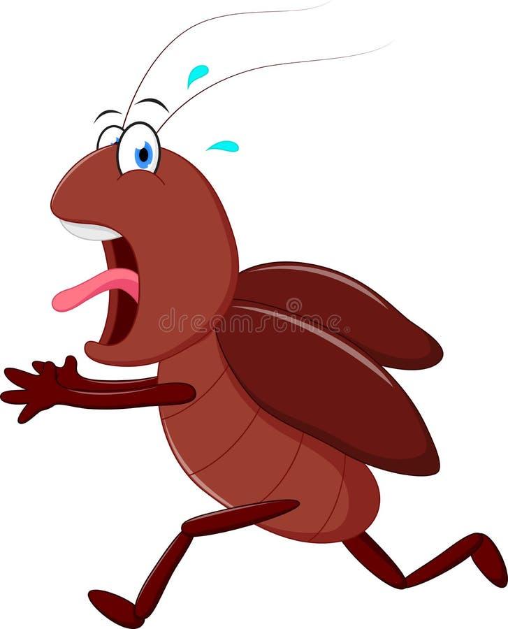 Historieta corriente de la cucaracha asustadiza ilustración del vector