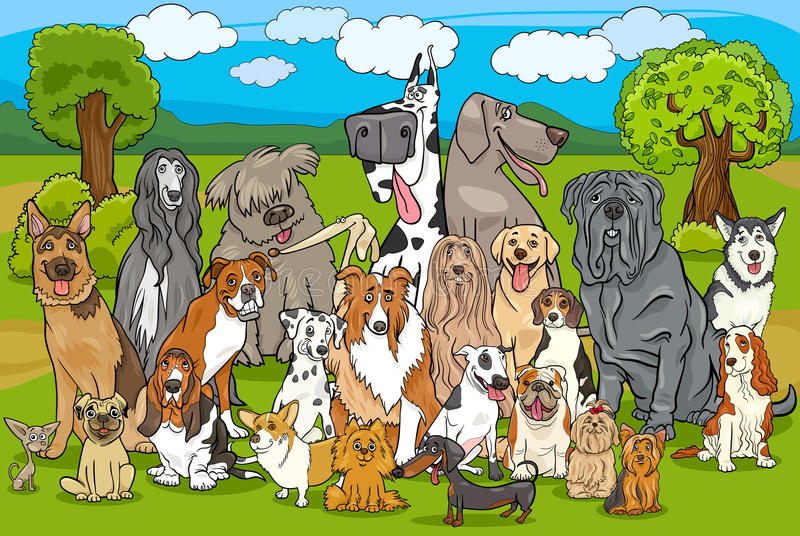 Historieta criada en línea pura del grupo de los perros ilustración del vector