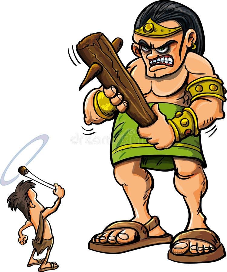 Historieta David and Goliath ilustración del vector