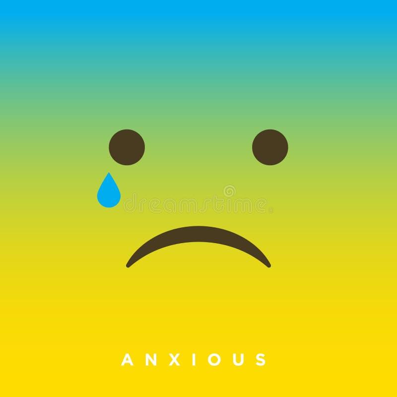 Historieta de alta calidad del vector con los emoticons ansiosos con estilo plano del diseño, reacciones sociales de los medios - stock de ilustración