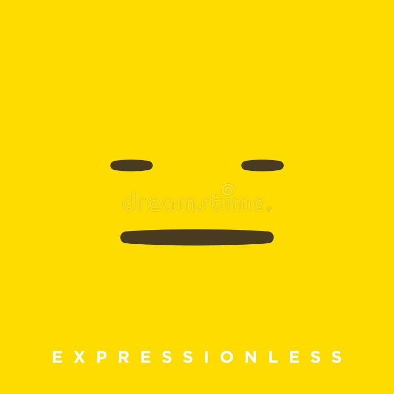 Historieta de alta calidad del vector con los emoticons inexpresivos con estilo plano del diseño, reacciones sociales de los medi ilustración del vector