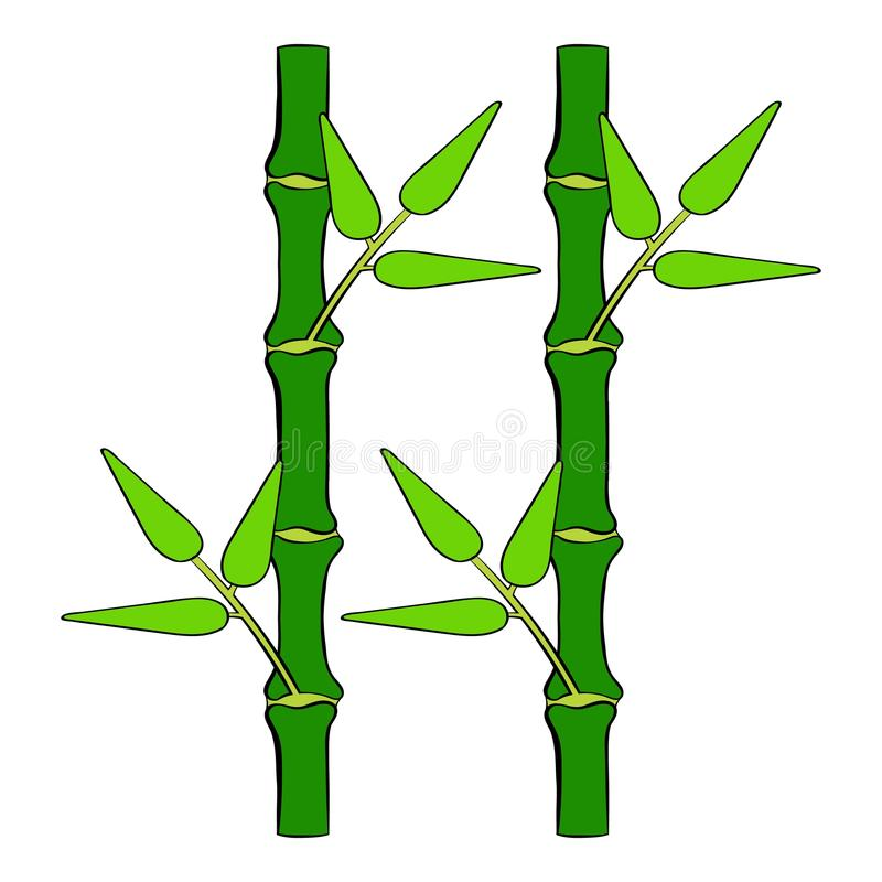 Historieta de bambú verde del icono del tronco stock de ilustración