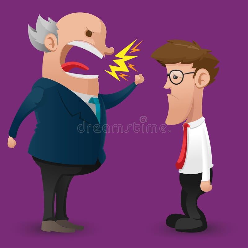 Historieta de Boss Anger Scold Employee ilustración del vector