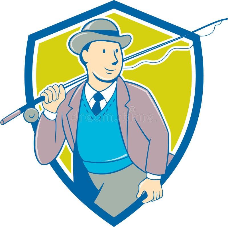 Historieta de Bowler Hat Shield del pescador de la mosca del vintage stock de ilustración