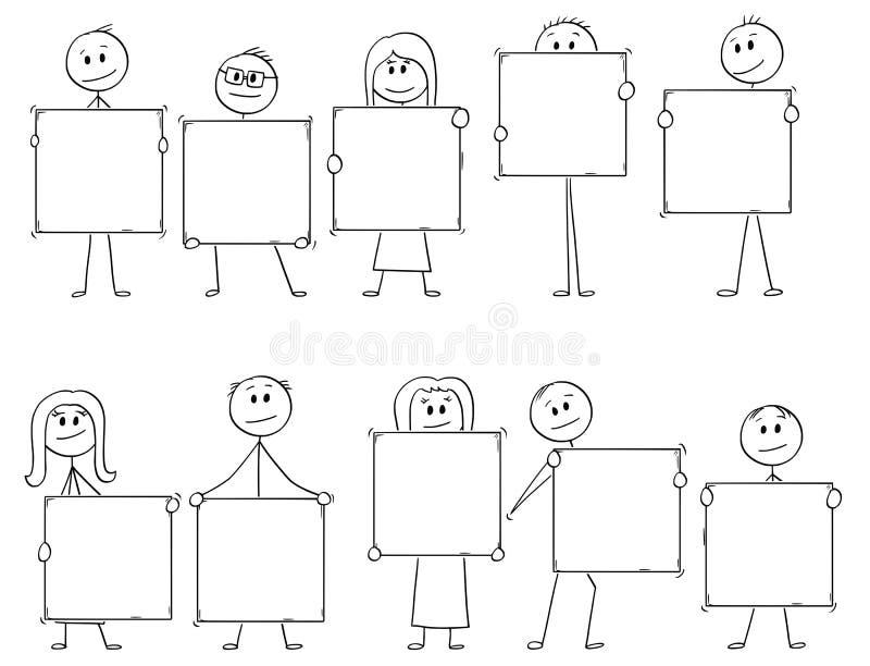 Historieta de diez hombres de negocios y empresarias que llevan a cabo las muestras vacías para las letras o los números ilustración del vector