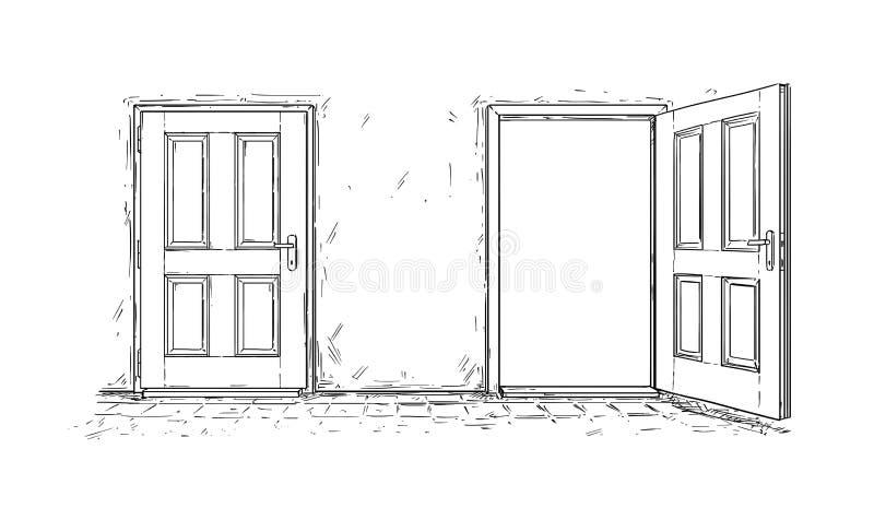 Historieta de dos abiertos y de la puerta de madera cercana de la decisión stock de ilustración