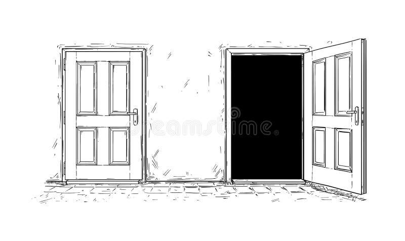 Historieta de dos abiertos y de la puerta de madera cercana de la decisión libre illustration