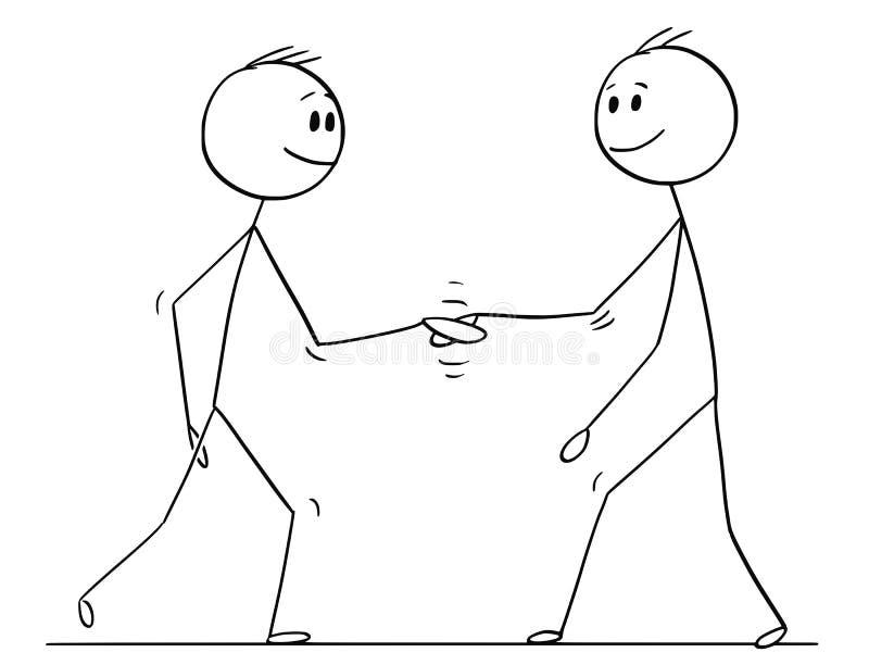 Historieta de dos hombres u hombres de negocios que sacuden las manos libre illustration