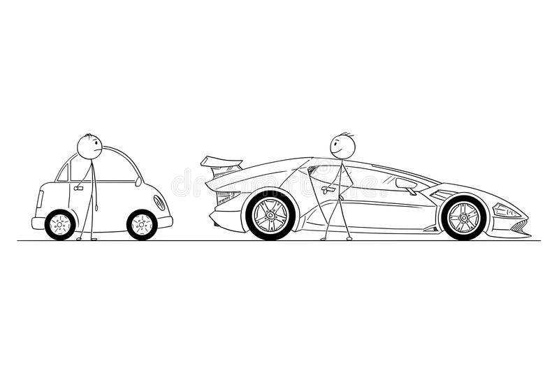 Historieta de dos hombres u hombres de negocios, una con el coche deportivo costoso, otra con el coche barato y pequeño ilustración del vector