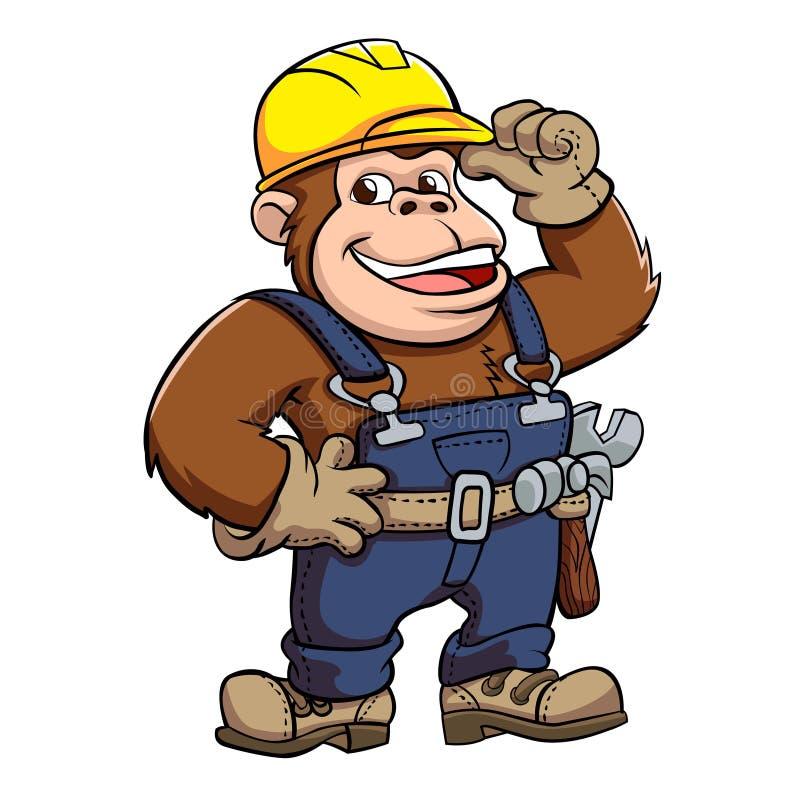 Historieta de Gorilla Handyman stock de ilustración