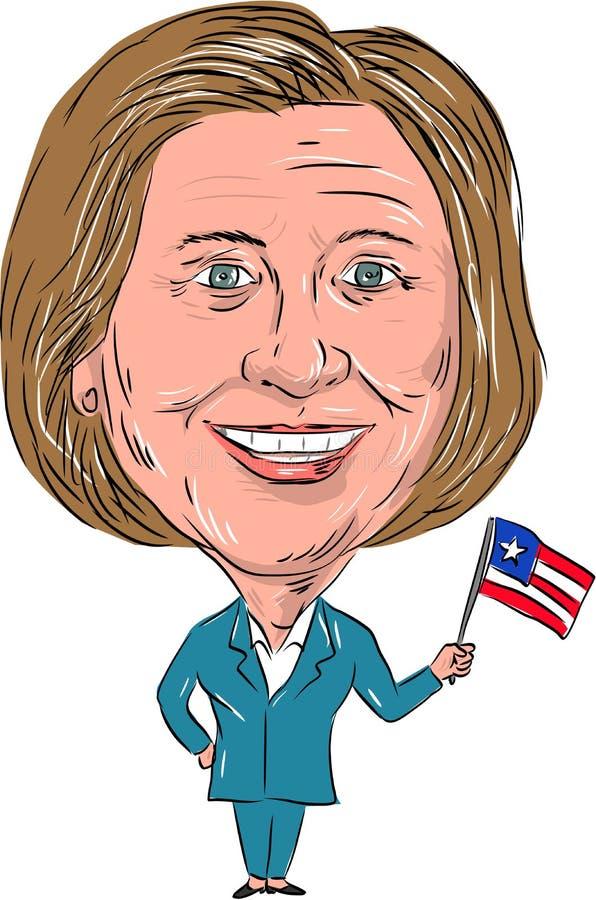 Historieta 2016 de Hillary Clinton Democrat Presidente stock de ilustración