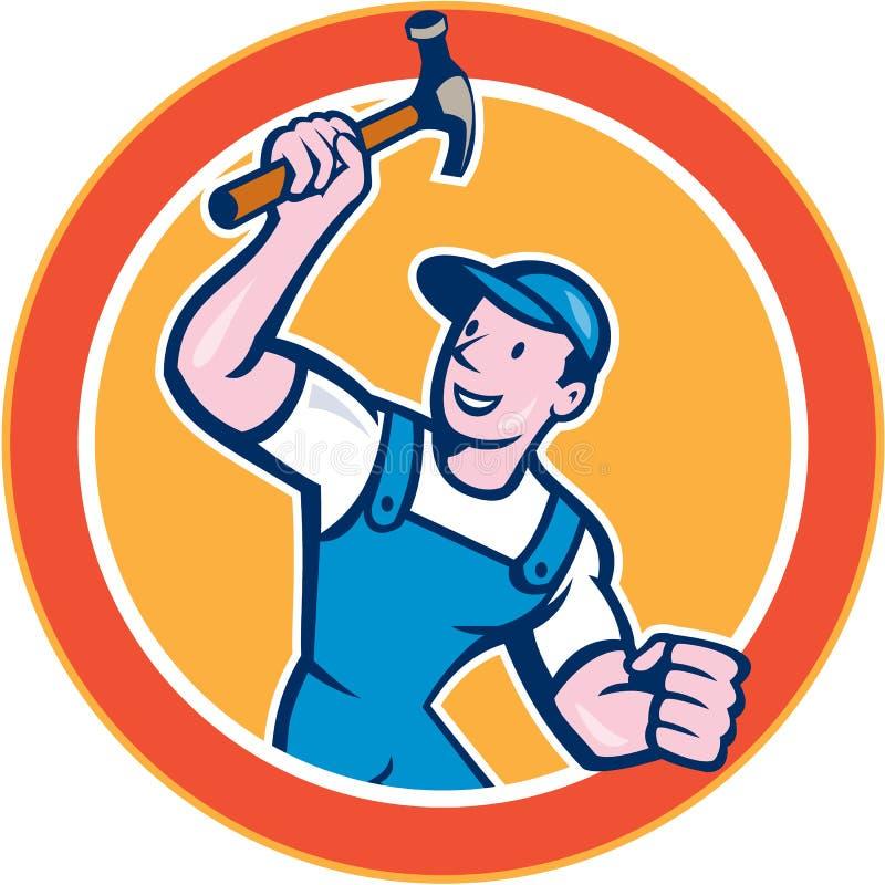 Historieta de Holding Hammer Circle del carpintero del constructor ilustración del vector