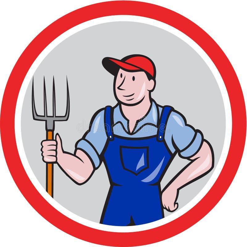 Historieta de Holding Pitchfork Circle del granjero ilustración del vector