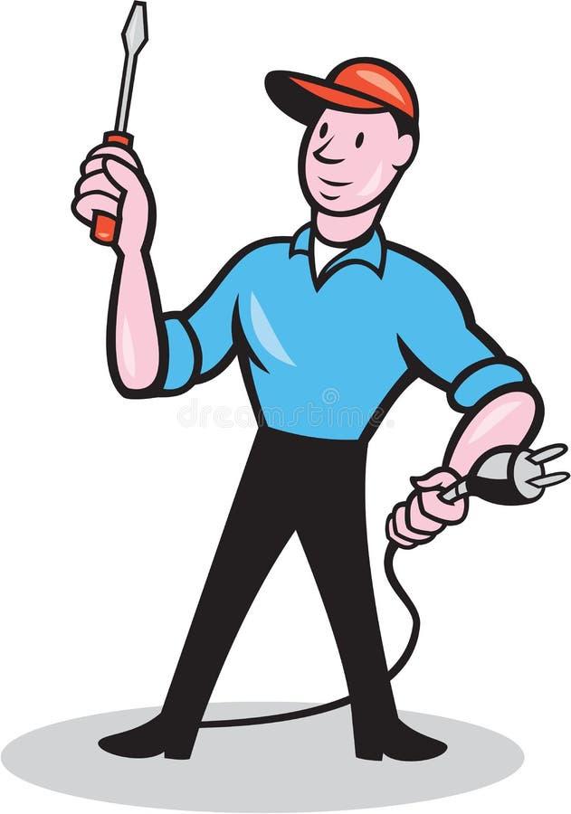 Historieta de Holding Screwdriver Plug del electricista ilustración del vector