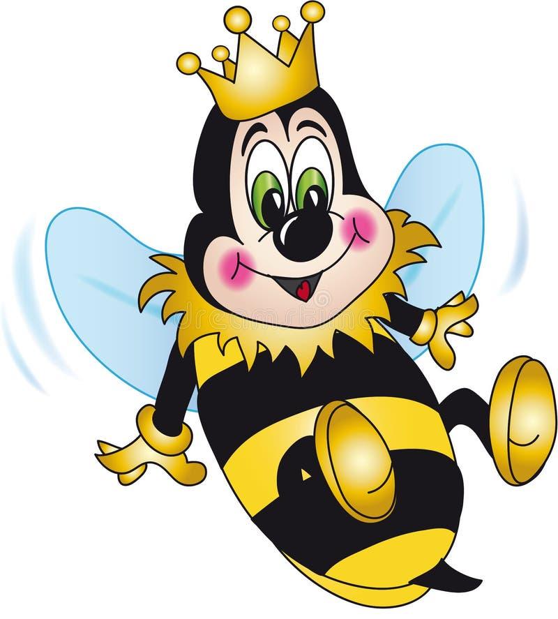 Historieta de la abeja de reina stock de ilustración