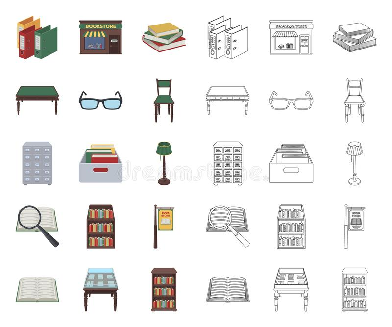 Historieta de la biblioteca y de la librer?a, iconos del esquema en la colecci?n del sistema para el dise?o Libros y web de la ac ilustración del vector