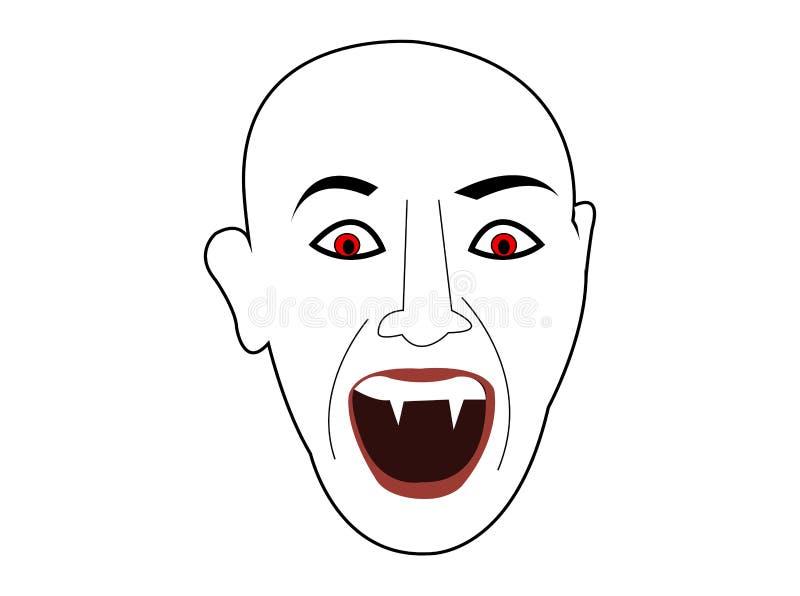 Historieta de la cabeza de la cara del demond del vampiro stock de ilustración