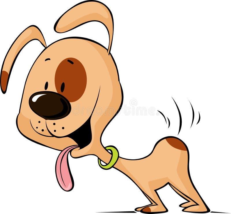 Historieta de la comida del perro que espera entusiasta para - vector stock de ilustración